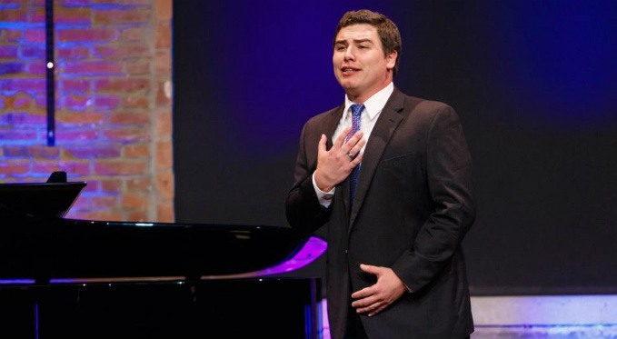 Eric Ferring performs an aria at Pittsburgh Opera's annual Rising Stars event