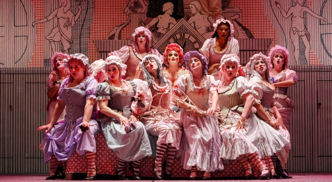 Mother Goose and her 'employees' await Tom in her brothel. Photo via David Bachman Photography.