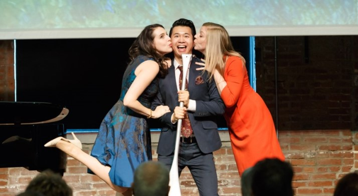 No wonder Brian Vu is smiling! Photo from a 2016 Art Song Recital at Pittsburgh Opera Headquarters with Claudia Rosenthal and Corrie Stallings
