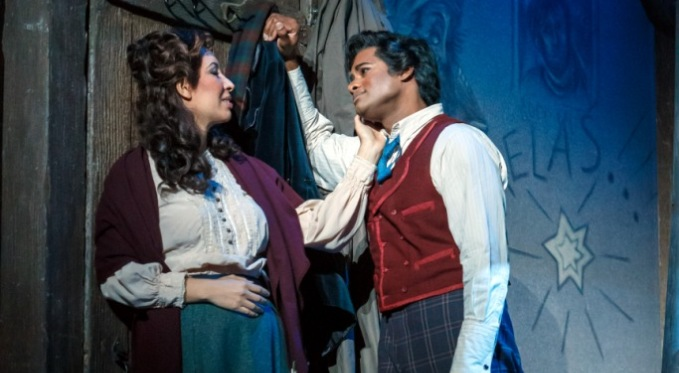 Mimi (Nicole Cabell) and Rodolfo (Sean Panikkar). Photo by David Bachman for Pittsburgh Opera