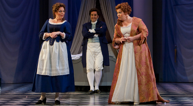 Figaro, Susanna, and Countess Almaviva plot their secret plan in The Marriage of Figaro.
