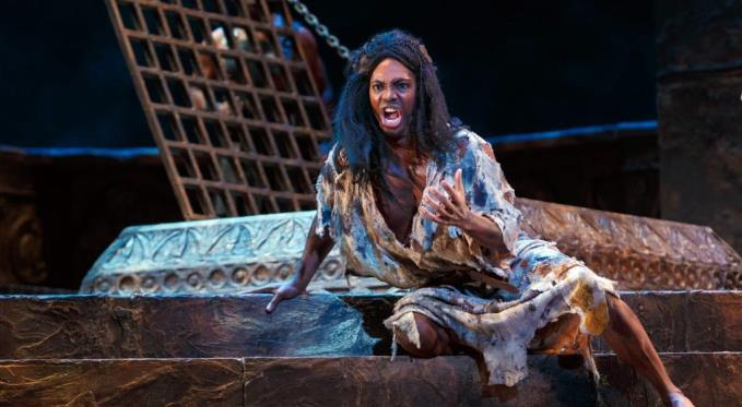 Jochanaan (Nmon Ford) rails against Herodias's sinful ways.Photo by David Bachman.