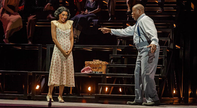 Helen Gibson (Jacqueline Echols) tells her husband Josh (Alfred Walker) that she is pregnant. Neither of them knows she will die in childbirth. Photo Credit: David Bachman Photography.