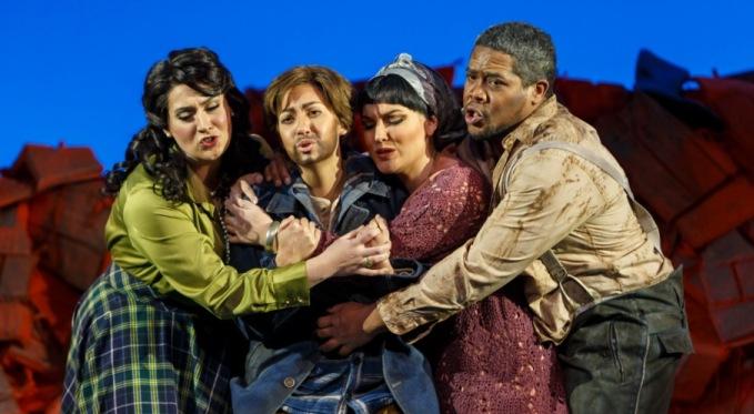 Elettra (Caitlin Gotimer), Idamante (Antonia Botti-Lodovico), Ilia (Ashley Fabian), and Idomeneo (Terrence Chin-Loy). Photo by David Bachman for Pittsburgh Opera.