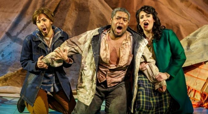 Idamante (Antonia Botti-Lodovico), Idomeneo (Terrence Chin-Loy), and Elettra (Caitlin Gotimer). Photo by David Bachman for Pittsburgh Opera.