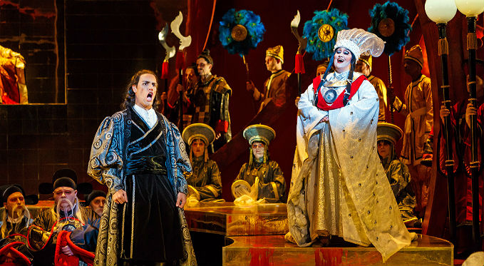 Prince Calaf attempts to solve Turandot's riddles. Photo via David Bachman Photography.