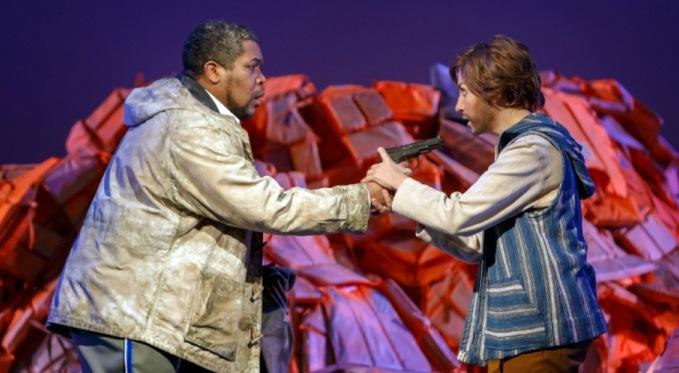 Idomeneo (Terrence Chin-Loy) confronts his son Idamante (Antonia Botti-Lodovico). Photo by David Bachman for Pittsburgh Opera.