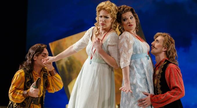 Dorabella and Fiordiligi resist the advances of the 'Albanians', aka Ferrando and Guglielmo in disguise. Photo: David Bachman Photography