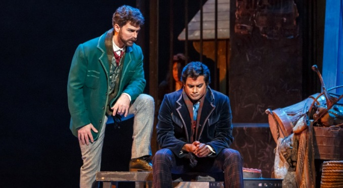 Marcello (Craig Verm) with Rodolfo (Sean Panikkar). Photo by David Bachman for Pittsburgh Opera.