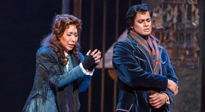Mimi (Nicole Cabell) with Rodolfo (Sean Panikkar). Photo by David Bachman for Pittsburgh Opera