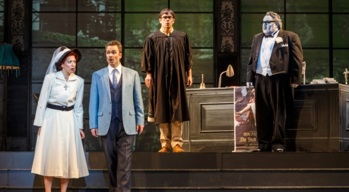 Tyler Zimmerman performs as the Notary in Don Pasquale, alongside Lisette Oropesa, Joshua Hopkins and Kevin Glavin