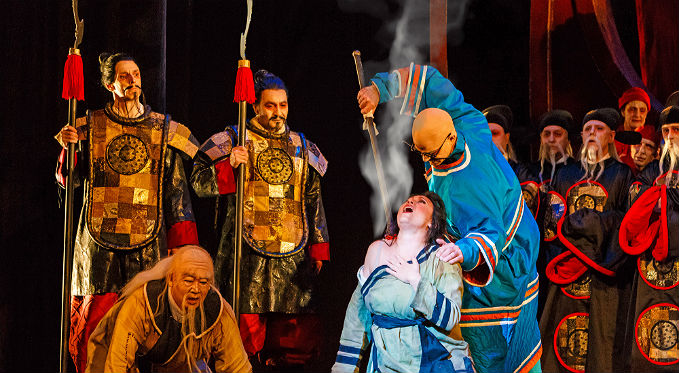 Liu's devotion is tried and tested in this passionate story of love. Prince Calaf attempts to solve Turandot's riddles. Photo via David Bachman Photography.