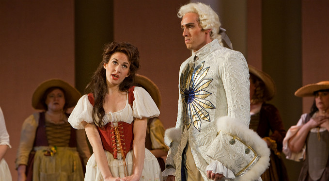 Barbarina sings to Count Almaviva in The Marriage of Figaro.