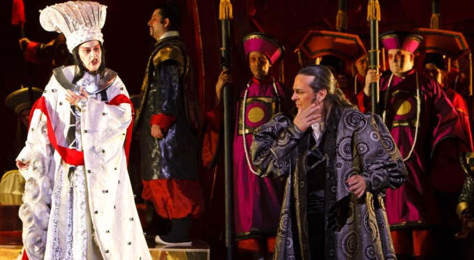 Prince Calaf attempts to solve Turandot's riddles. Photo via David Bachman Photography.