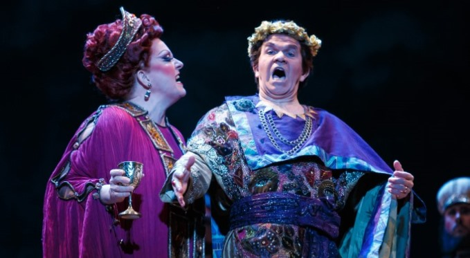 King Herod (Robert Brubaker) and Herodias (Michaela Martens) have a difference of opinion. Photo by David Bachman.