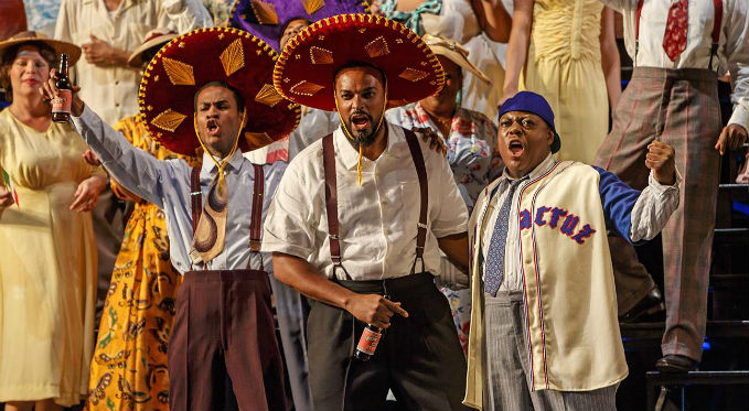Cool Papa Bell (Phillip Gay), Sam Bankhead (Kenneth Kellogg) and Josh Gibson (Alfred Walker) celebrate their pending journey to play for the Veracruz Azules in Mexico. Photo Credit: David Bachman Photography.