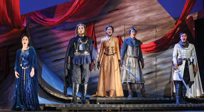 Everyone celebrates Isacio's defeat: Costanza (Shannon Jennings), King Richard I (Leah de Gruyl), Pulcheria (Claudia Rosenthal), Berardo (Brian Vu) and Oronte (Taylor Raven)