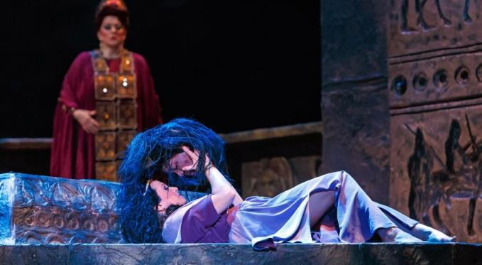 Salome (Patricia Racette) with the severed head of John the Baptist. Photo by David Bachman.