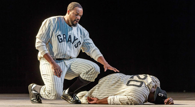 Sam Bankhead (Kenneth Kellogg) mourns the death of his best friend Josh Gibson (Alfred Walker), who died at the age of 35. Photo Credit: David Bachman Photography.