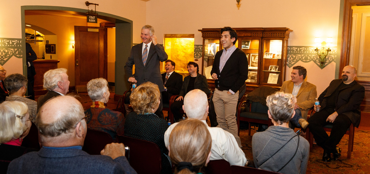 Sir Thomas Allen entertains not just the crowd, but also his fellow cast members at Pittsburgh Opera's Meet the Artists reception for Mozart's Così fan tutte, October 2015.