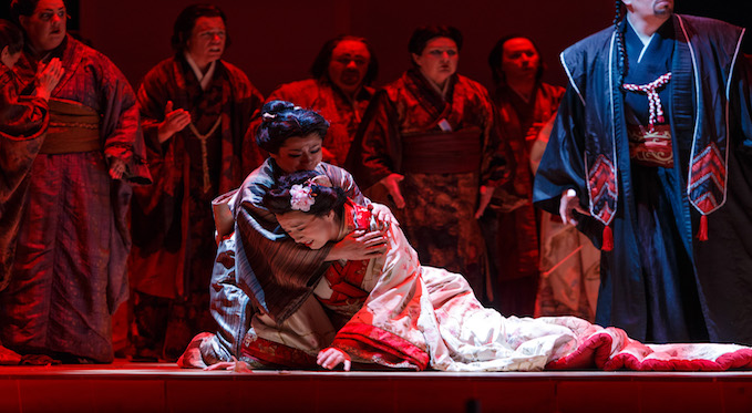 Suzuki comforts Cio-Cio San. Photo by David Bachman for Pittsburgh Opera.