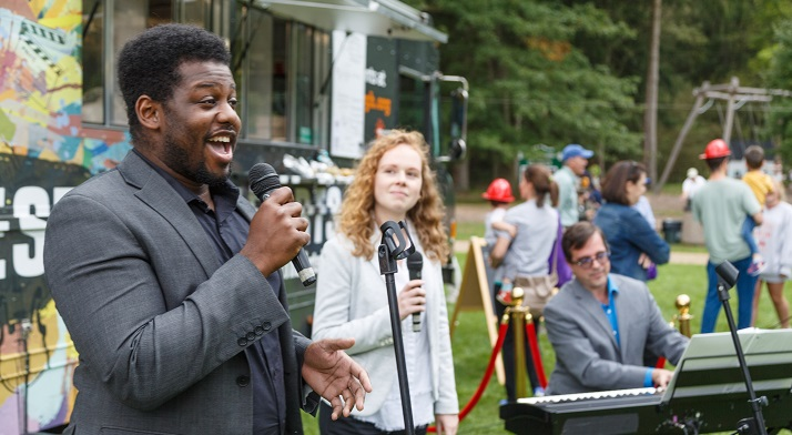Andrew Turner singing at the Fox Chapel Community Day via the Restart the ArtsMobile! (photo credit: David Bachman)