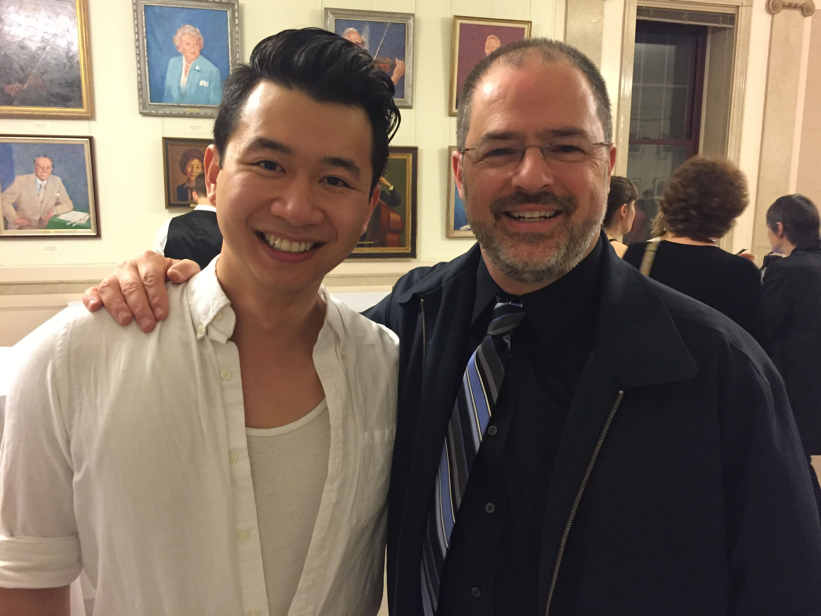 Brian Vu, Pittsburgh Opera Resident Artist and first place winner in the 2016 Lotte Lenya Competition, with Pittsburgh Opera Head of Music Glenn Lewis, at the final round of the competition in Rochester, NY.