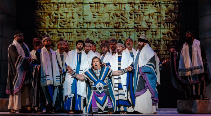 Ismaele (Raymond Very) is reviled by the Israelite priests (Pittsburgh Opera Chorus) for his involvement with Nabucco's daughter Fenena.