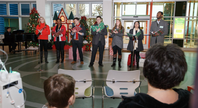 Our Resident Artists entertain Children's Hospital patients and their families at holiday time.