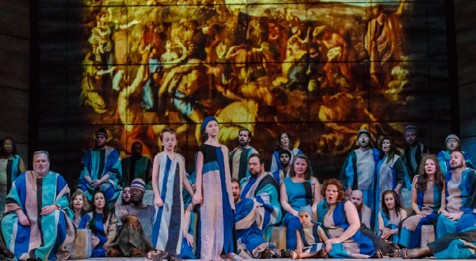 The imprisoned Israelites (Pittsburgh Opera Chorus and Supernumeraries) mourn for their homeland in the famous chorus