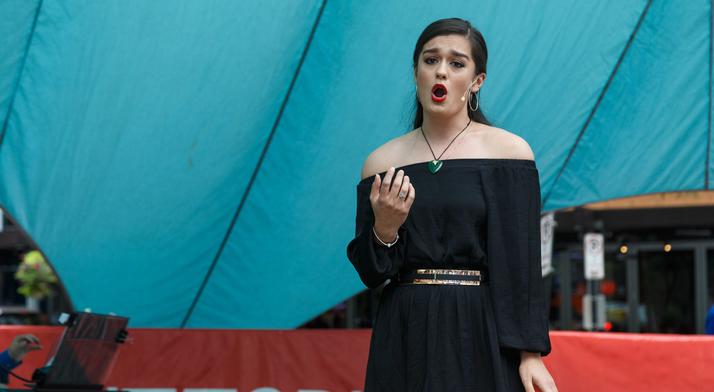 Natasha Wilson sings at Market Square Farmers Market