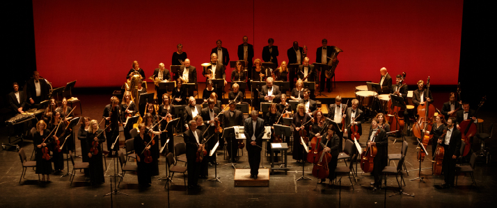The orchestra on stage at Grand & Glorious, 2014.