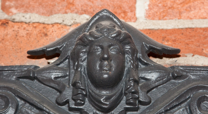 Detail from the top of George Westinghouse's metal safe.