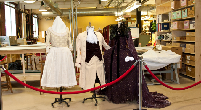 Our Wardrobe department stores everything from shoes to corsets to scarves to jewelry, and manufactures costumes when needed.