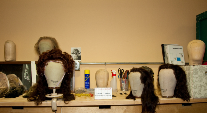 The wig and makeup area, located within the Wardrobe department.