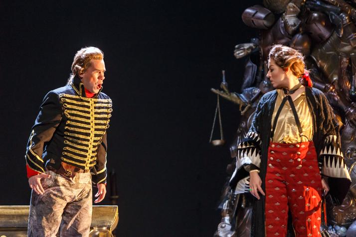 Tyler Zimmerman as Melisso (left) tries to get through to Ruggiero (Antonia Botti-Lodovico).