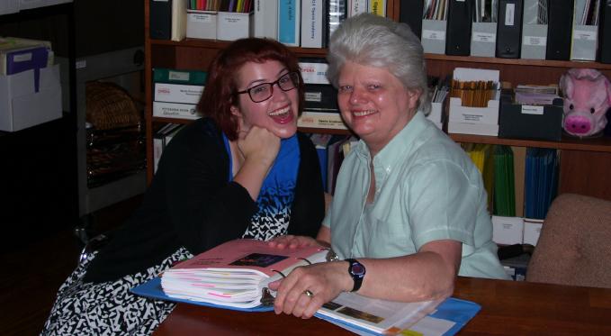 Education Director Marilyn Egan with Education program volunteer Erica.