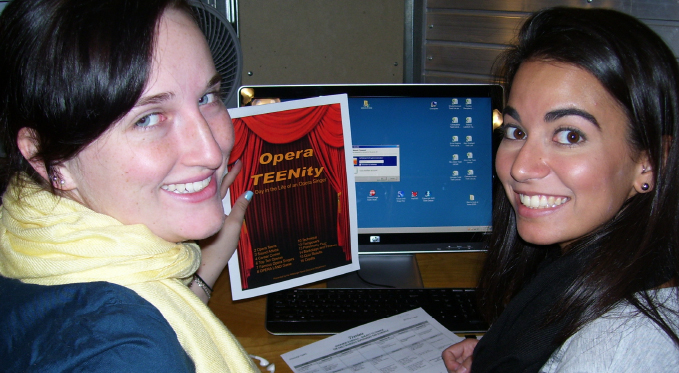 "Volunteers work on a promotional piece for ""Opera-Teenity."""