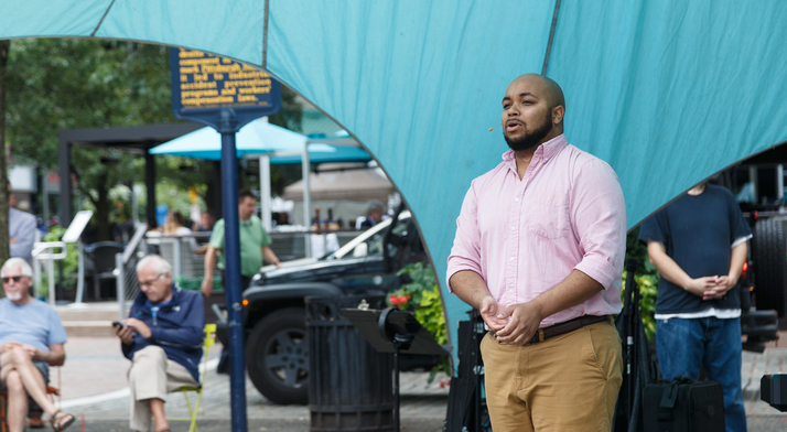 Yazid Gray sings at Market Square Farmers Market