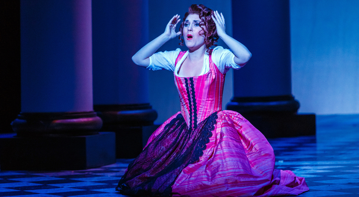 "Ashley Fabian performs the role of Barbarina in Mozart's The Marriage of Figaro. Pittsburgh in the Round said she was ""well worth the wait."""