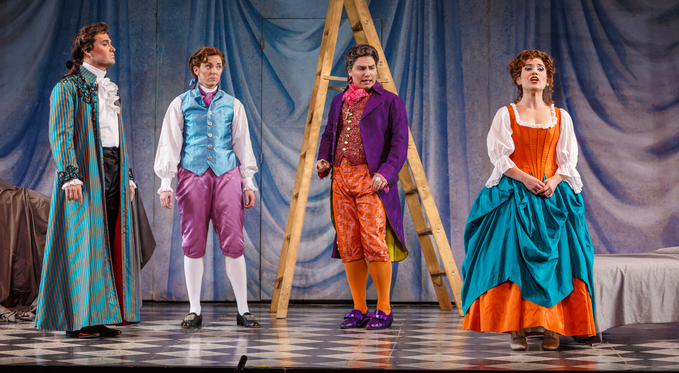 From the left: Count Alamaviva (Christian Bowers), Cherubino (Corrie Stallings), Don Basilio (Eric Ferring), and Susanna (Joelle Harvey) have a tense moment.