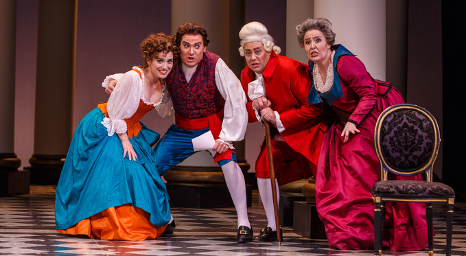 Susanna (Joelle Harvey) and Figaro (Tyler Simpson) are unexpectedly reunited with Figaro's parents; Dr. Bartolo (Brian Kontes) and Marcellina (Leah de Gruyl).