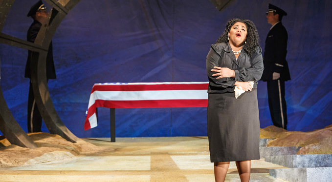 Perneatha (Adrianna Cleveland) mourns the loss of her husband, fellow EOD soldier to Brian.