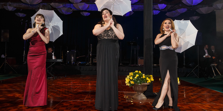 Pittsburgh Opera Resident Artists Shannon Jennings, Leah de Gruyl, and Ashley Fabian entertain the guests.