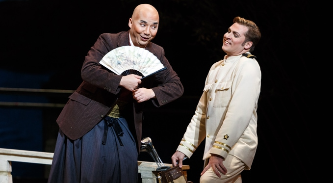 Wedding broker Goro (Julius Ahn) jokes with his client Lt. B.F Pinkerton (Cody Austin) Photo by David Bachman for Pittsburgh Opera.