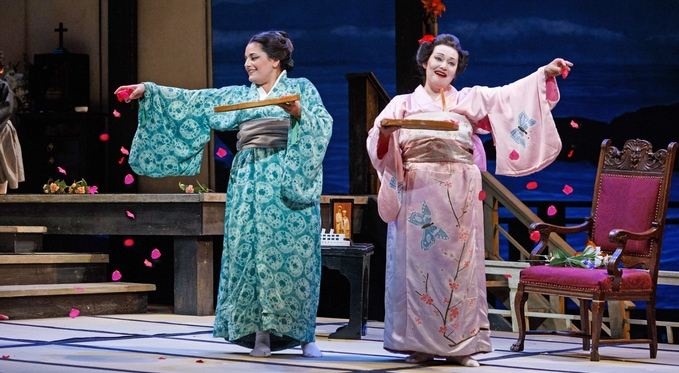 Cio-Cio San (Dina Kuznetsova) and her maid Suzuki (Laurel Semerdjian) prepare the house for Pinkerton's return. Photo by David Bachman for Pittsburgh Opera.