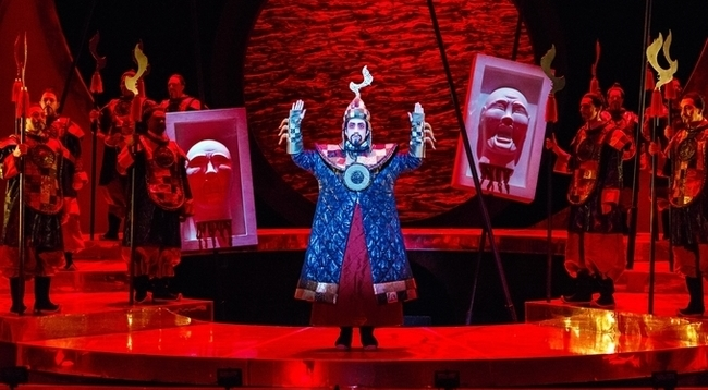 Andy Berry performs as Mandarin in Turandot